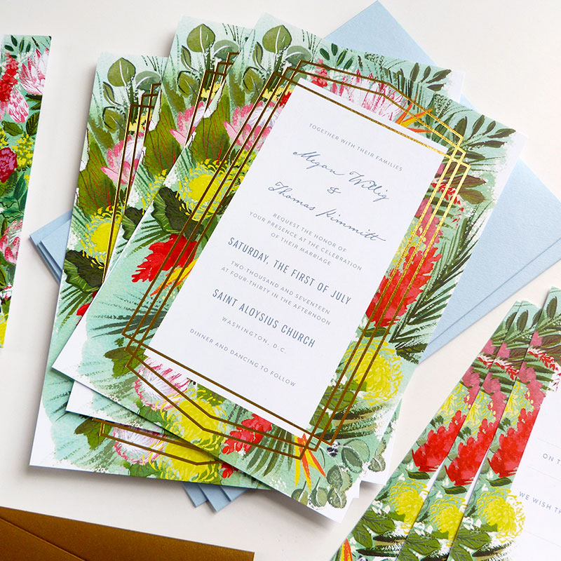 Jolly Edition Blog Post Mar 17 Geometric, gold, tropical wedding