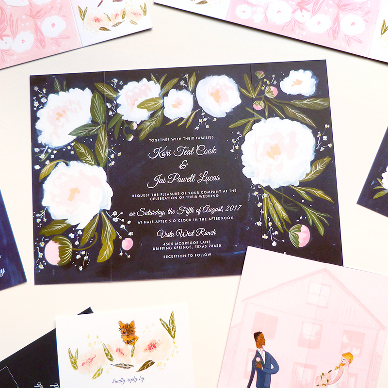 Jolly Edition Blog Post June 2017 Navy and blush wedding invitation suite. Custom saloon-door folding invitation
