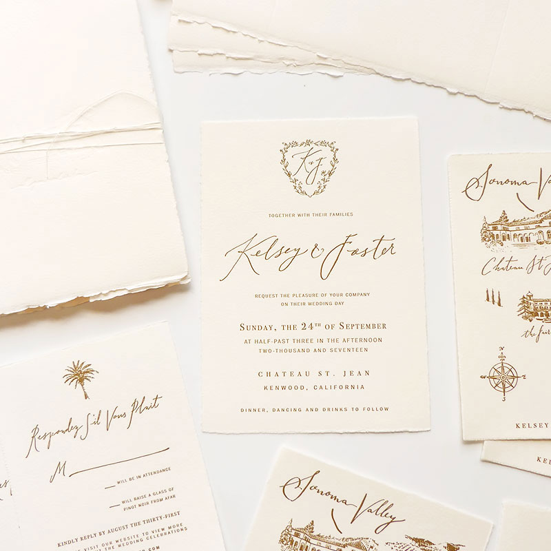 Jolly Edition Blog Post July 2017 Sonoma wedding invitation, letterpress hand-torn edges, cover wrap with blind embossing of venue Chateau St. Jean
