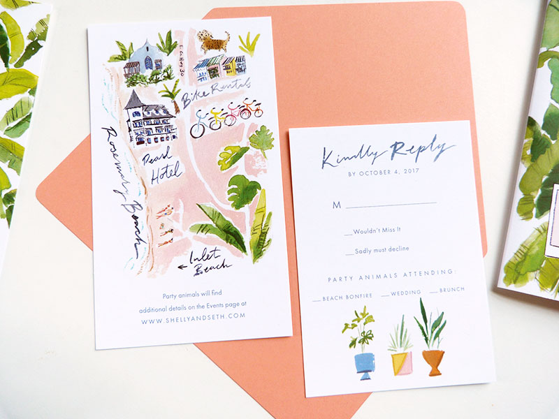 tropical, fun wedding invitation, palms, Gray Malin inspired invitation set, invite, wedding map, brunch card, bonfire card.