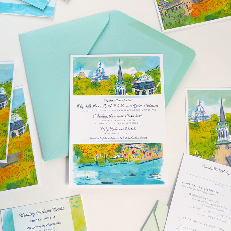 Jolly Edition Blog Post August 2017 wedding invitation, Madison Wisconsin