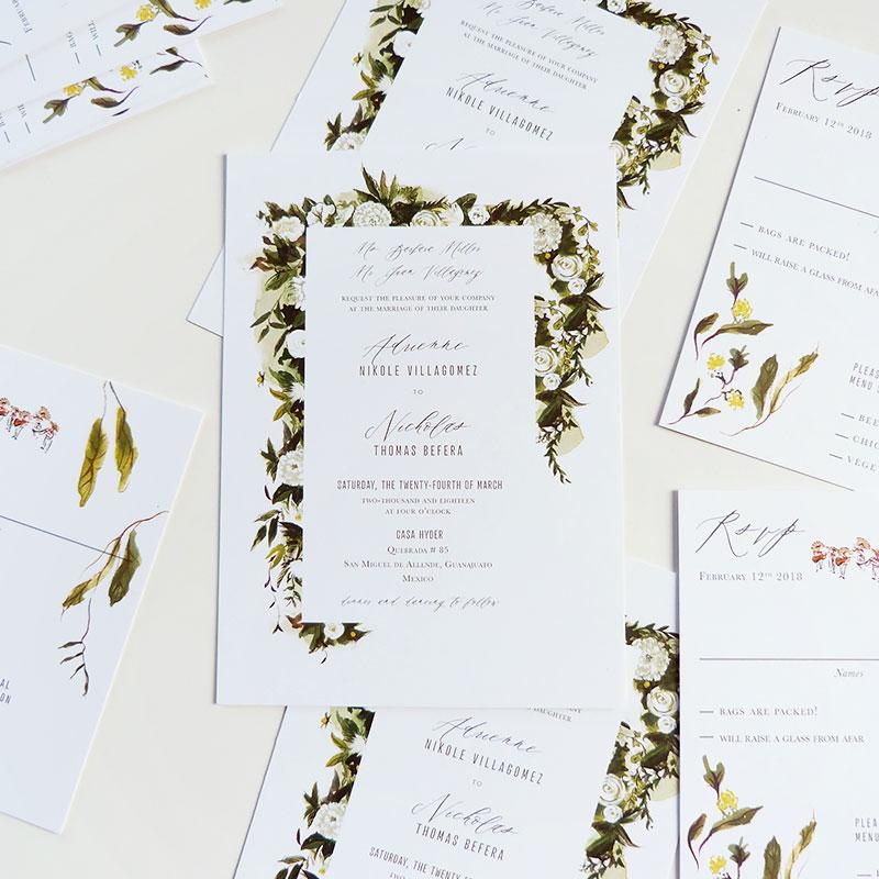 Jolly Edition Blog Post December 2017 Sleek invitation with garland details. Casa Hyder, San Miguel de Allende