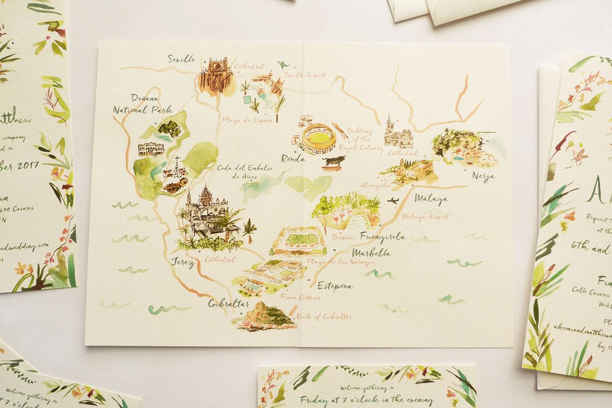 akemi & matthew custom Spanish wedding invitations