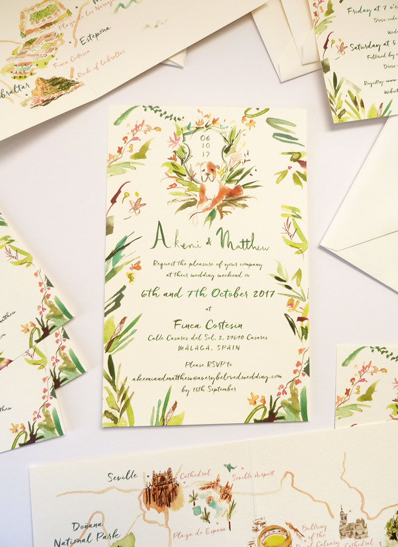 akemi & matthew custom Finca Cortesin, Malaga, Spain wedding invitations