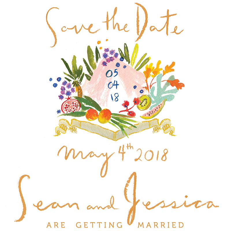 Jolly Edition Blog Post October 2017 Hawaiian Save the Date design with illustrated crest