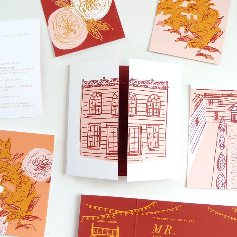 Jolly Edition Blog Post November 2017 screen printed masterpiece invitation featuring the Elm Rock Inn, NY
