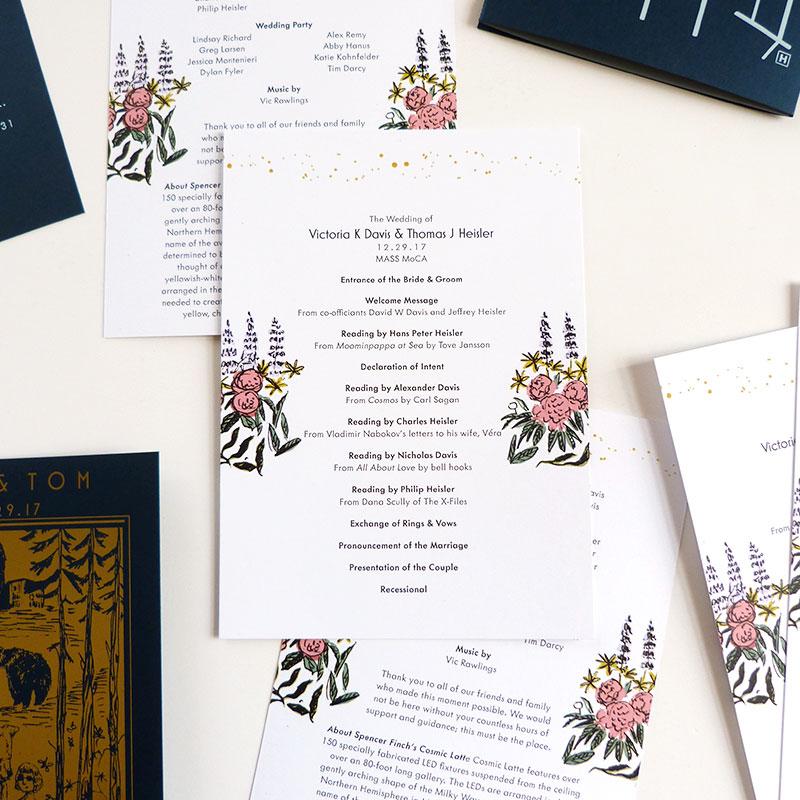 Jolly Edition Blog Post December 2017 wedding program designs for MASS MoCA wedding