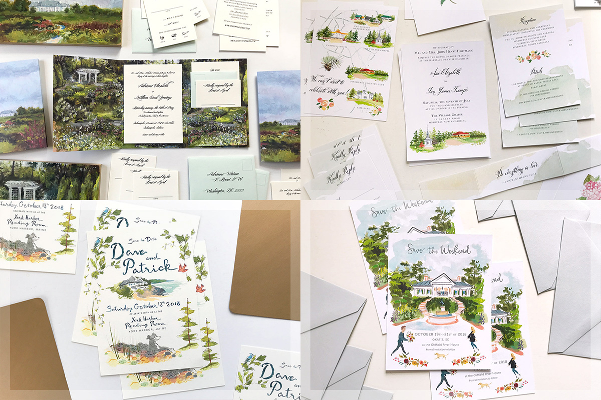 Jolly Edition Blog Post February 2018 Monet inspired folder invitation custom wedding stationery, invite, rsvp, and details card