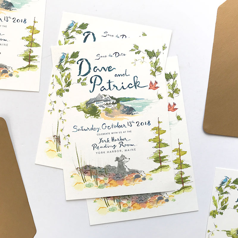 Jolly Edition Blog Post February 2018 watercolor custom illustrated Save the Date, York Harbor Reading Room