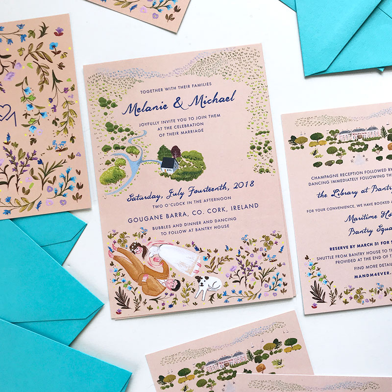Jolly Edition Blog Post January 2018 Cork custom wedding stationery, invitation, rsvp, and details card. Gougane Barra.