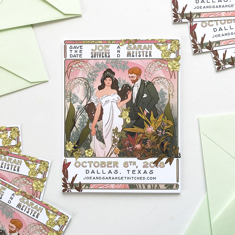 Jolly Edition Blog Post January 2018 Mucha inspired illustrated Save the Date. Texas arboretum wedding.