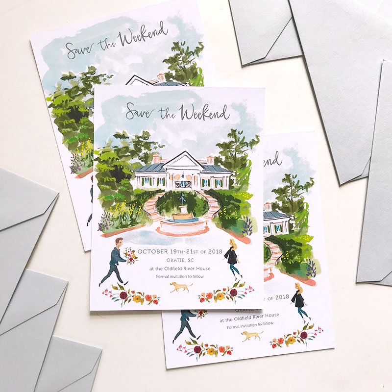 Jolly Edition Blog Post February 2018 South Carolina watercolor custom illustrated Save the Date