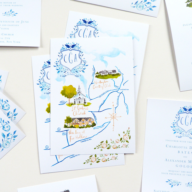 Jolly Edition blogpost April 2018, New york wedding blue and white watercolor invitations and wedding map