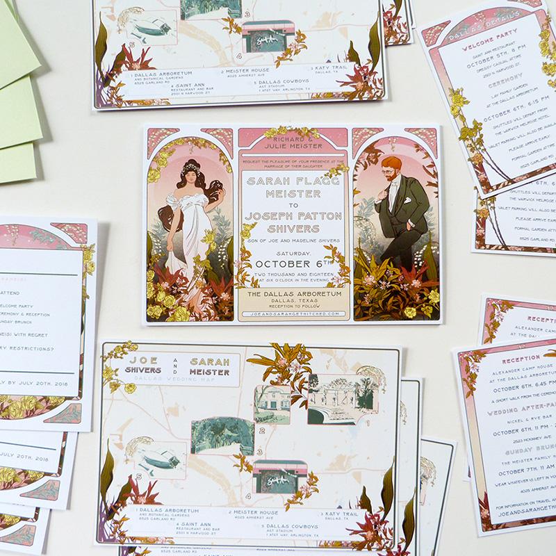 Jolly Edition Blog Post May 2018 Mucha inspired Texas wedding invitations and maps
