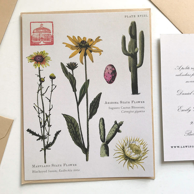 Peabody conservatory wedding custom Save the Date botanical illustration