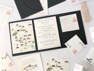 Baltimore Peabody Institute wedding, celestial, botanical, library inspired custom stationery, invitation, rsvp, details card, Baltimore wedding map