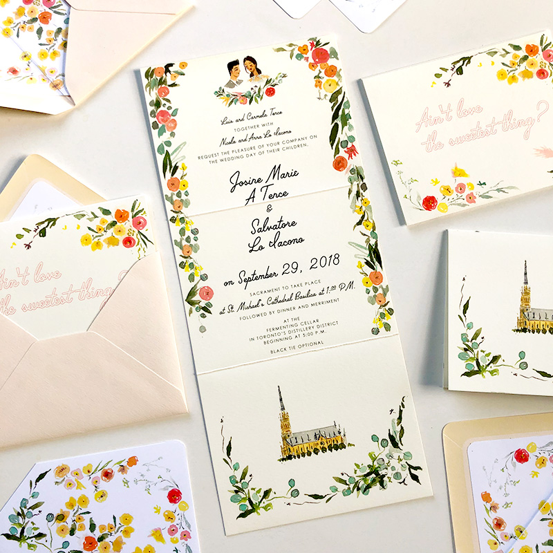 St. Michael's Cathedral Basilica, Toronto's Fermenting Cellar wedding stationery