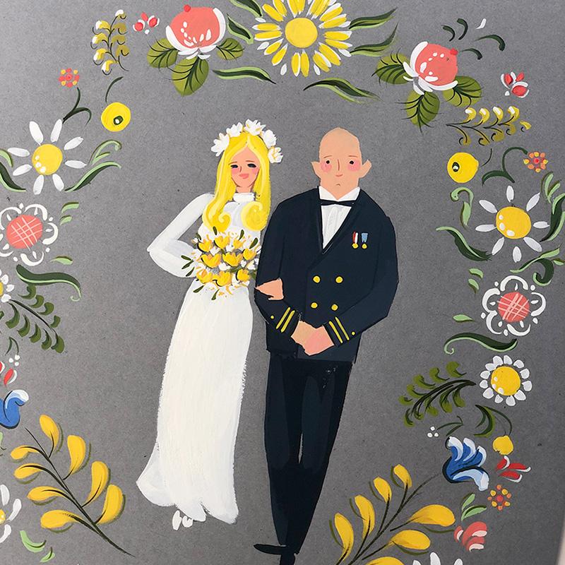 1970's wedding portrait illustration