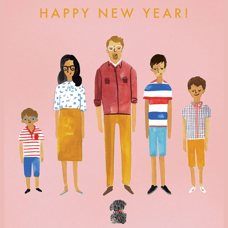 Happy New Year card Wes Anderson influenced
