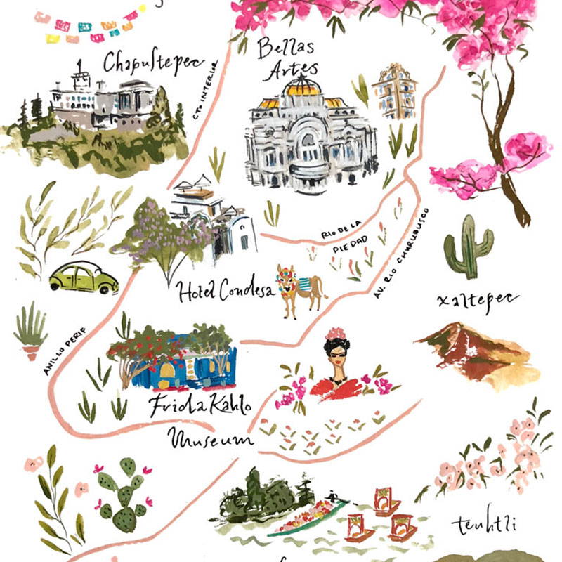 Mexico City wedding illustrated map