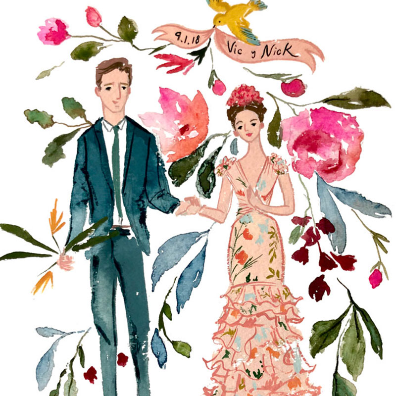 Mexico City wedding illustrated bride and groom