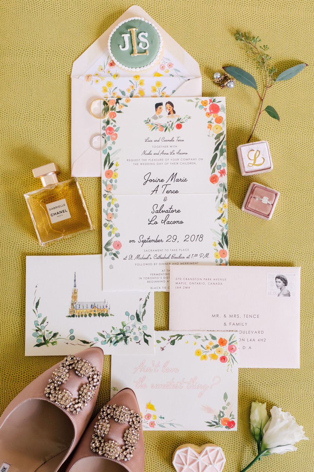 jolly-edition-toronto-wedding tri-fold invitation, tear-away postcard rsvp, printed envelopes, custom envelope liner