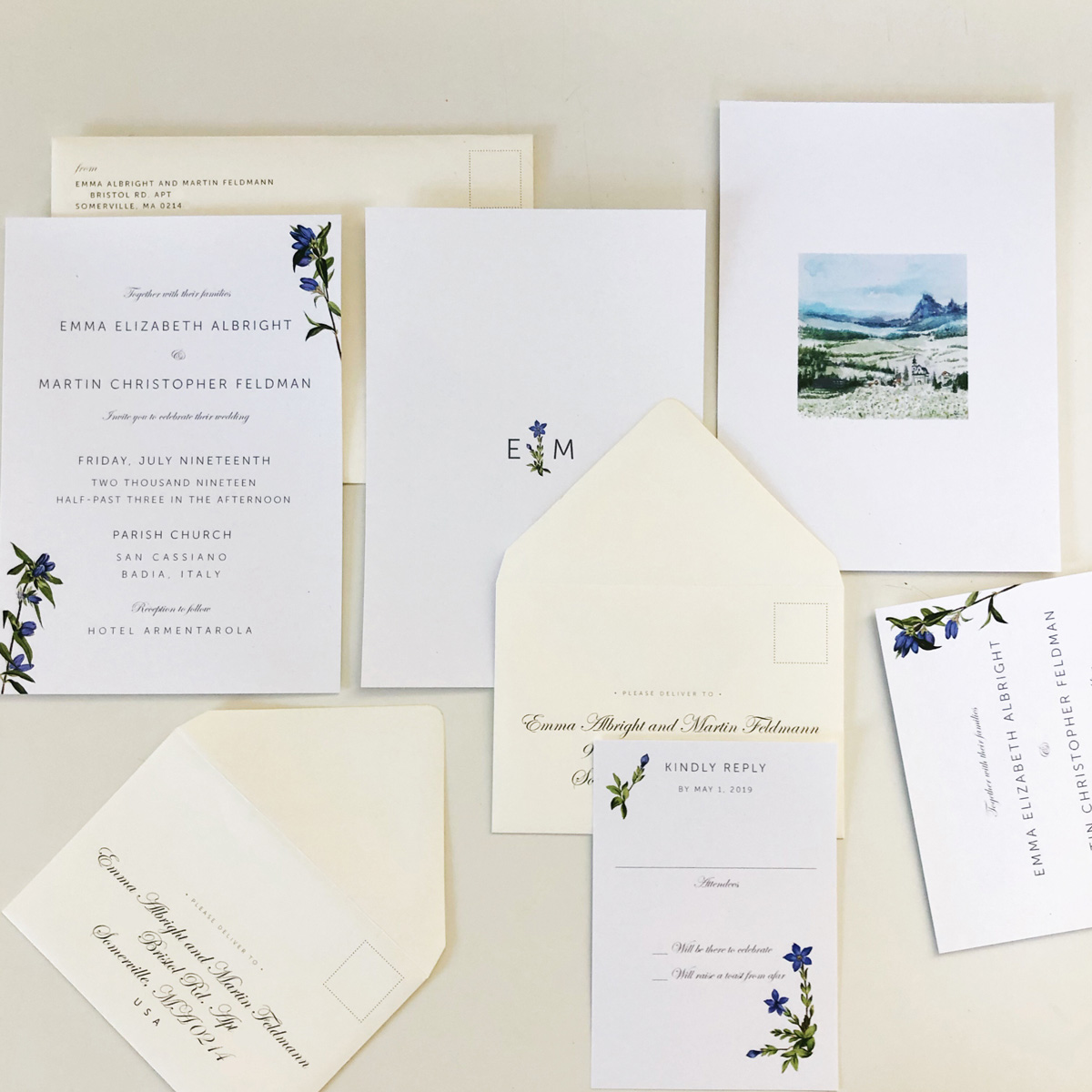 Custom italian wedding invitation. Botanical gentiana illustration