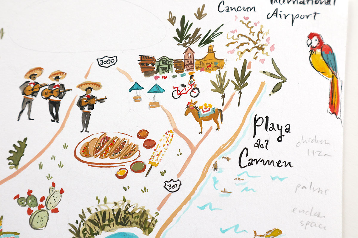 cancun illustrated wedding map