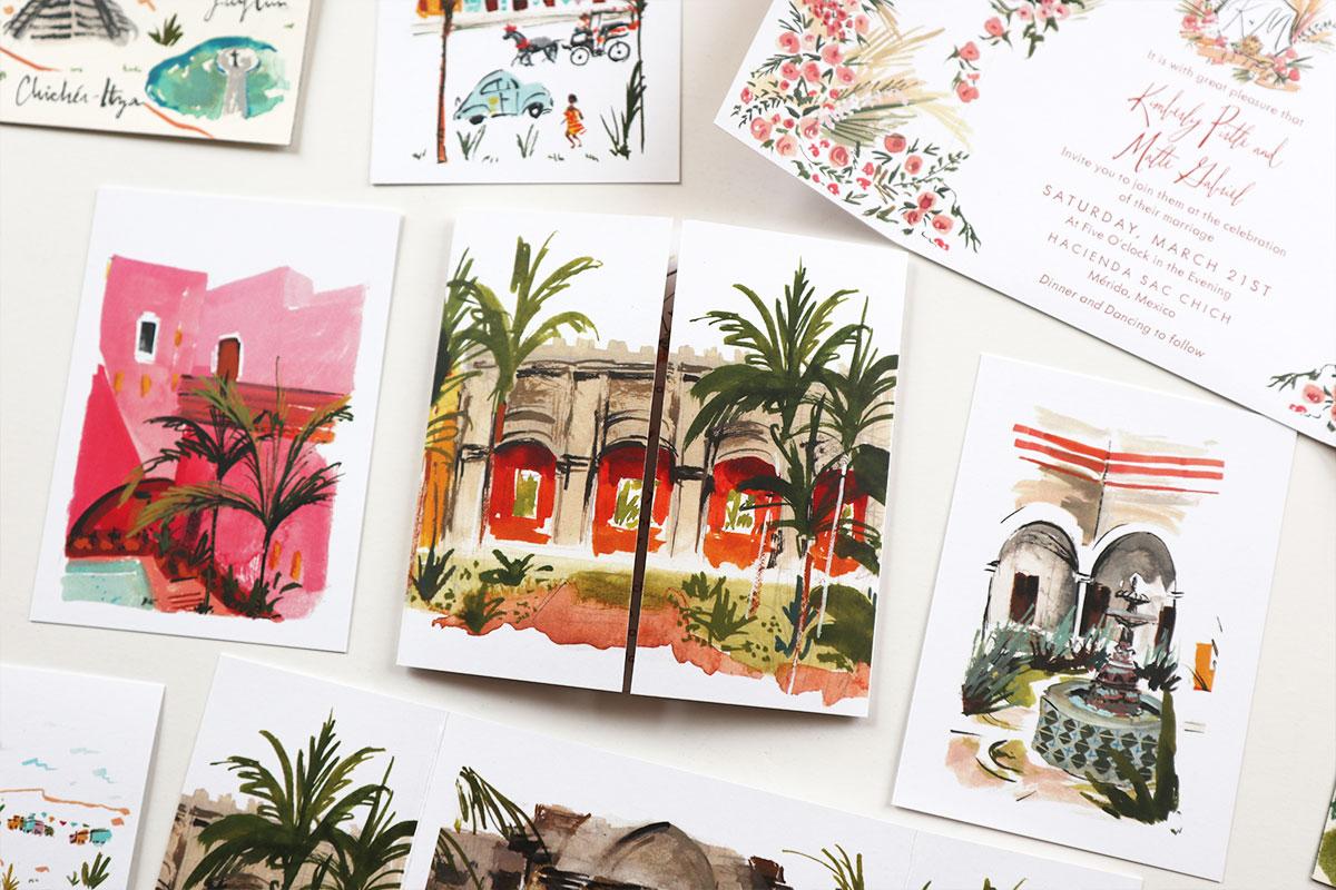 Merida, Mexico wedding stationery. Custom illustrated stationery and map