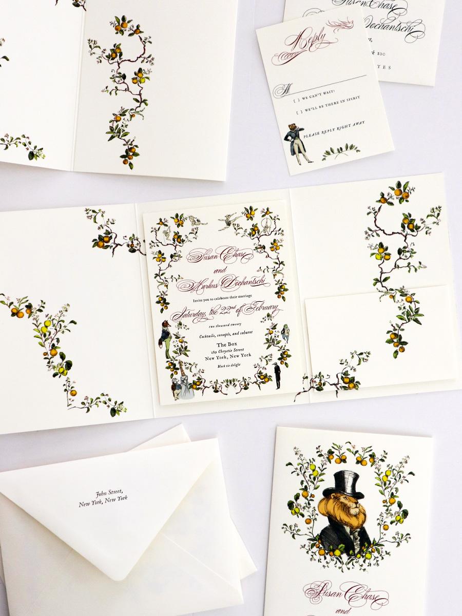 new york custom illustrated wedding stationery