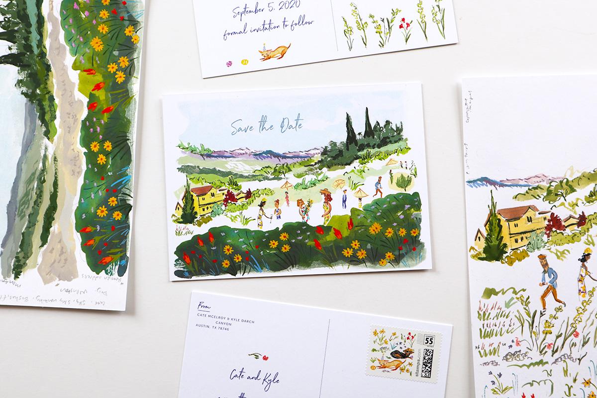 illustrated garden party Boulder, Colorado wedding