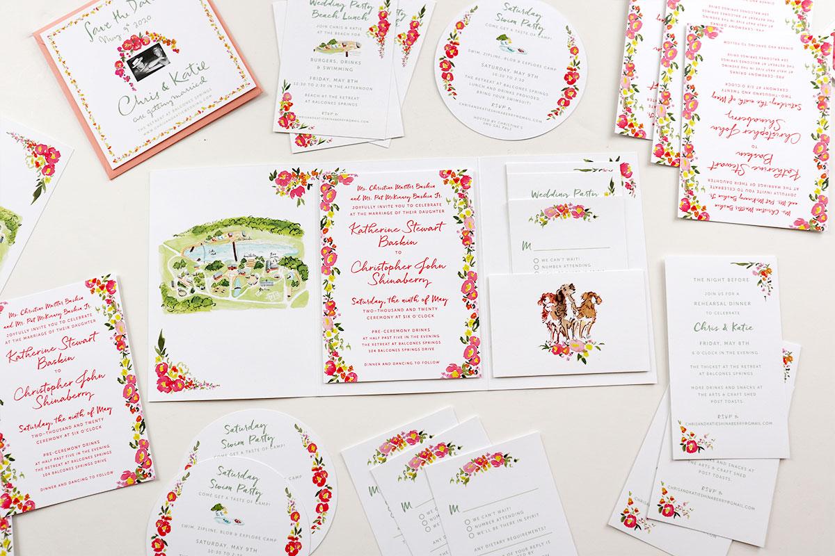 the retreat at balcones spring custom wedding invitation