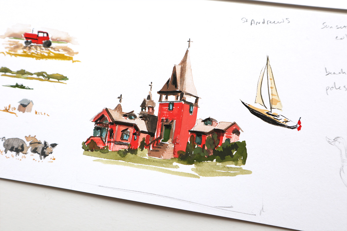 St. Andrew's Dune church watercolor illustration
