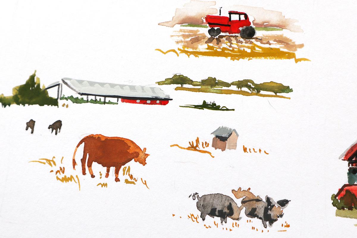 farm watercolor illustration