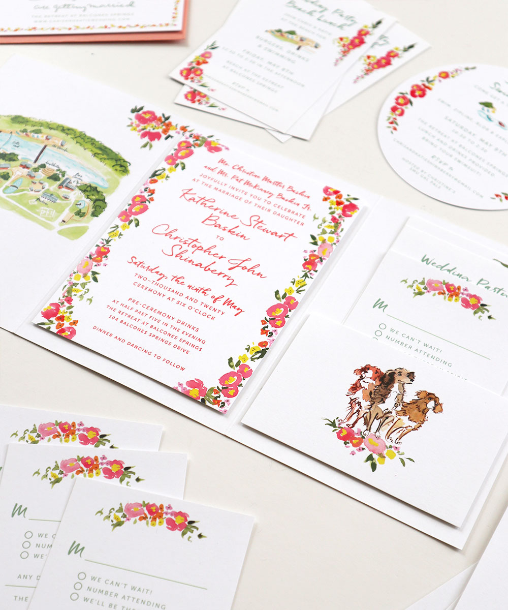 Letterpress wedding invitation. The invitation itself along with the reply card pocket are mounted on the tri-fold cover.