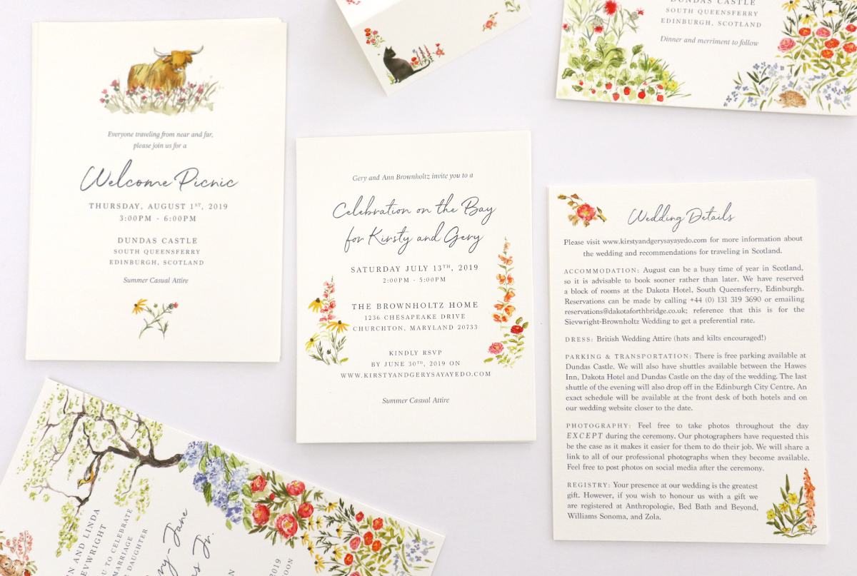 custom wedding stationery dc and scotland -