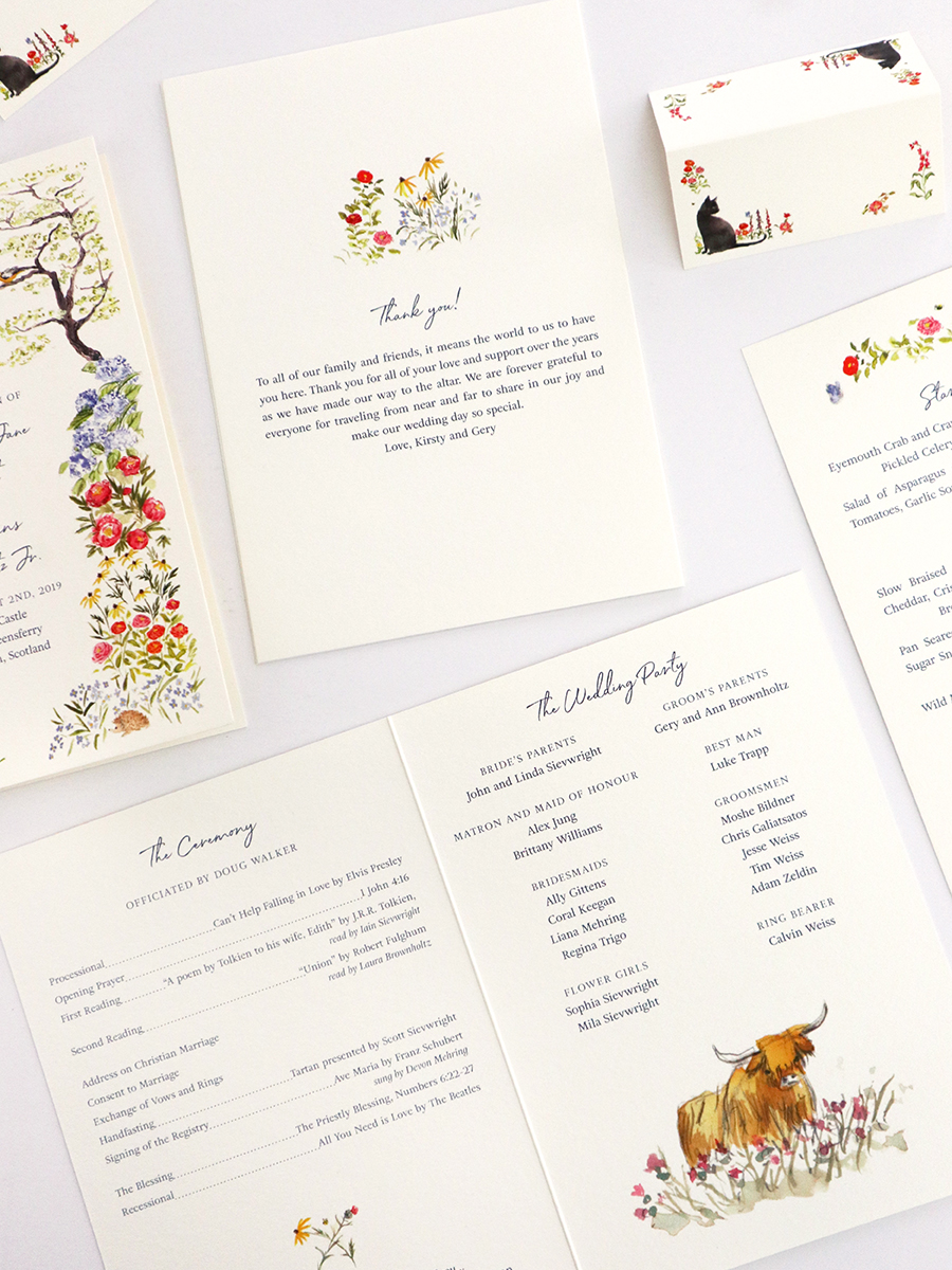 custom wedding stationery dc and scotland - program