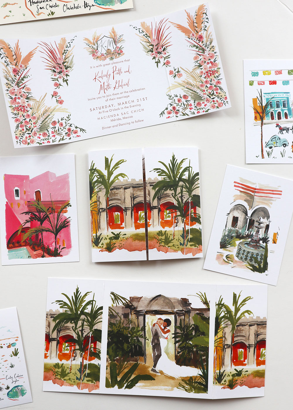 Merida wedding gate fold invitation custom illustrated