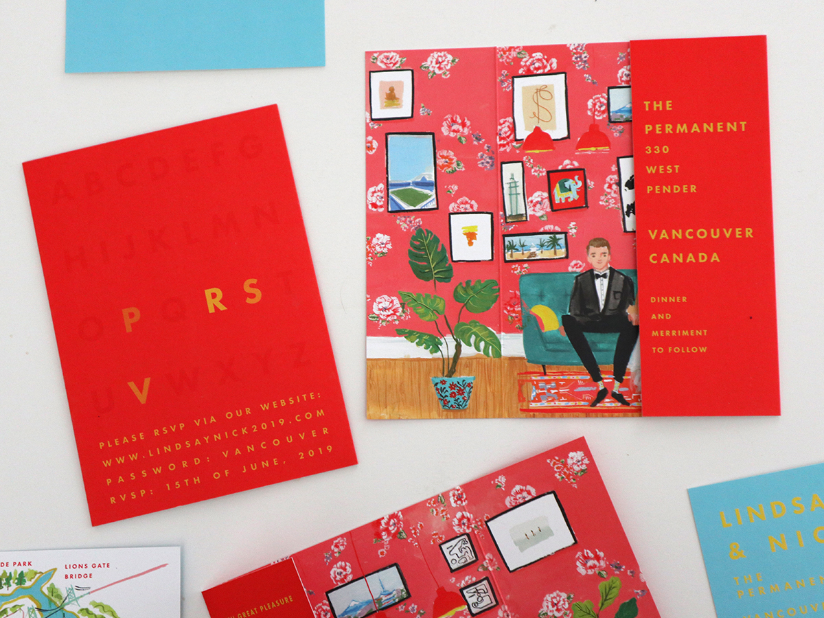 gate fold wes anderson inspired invitation