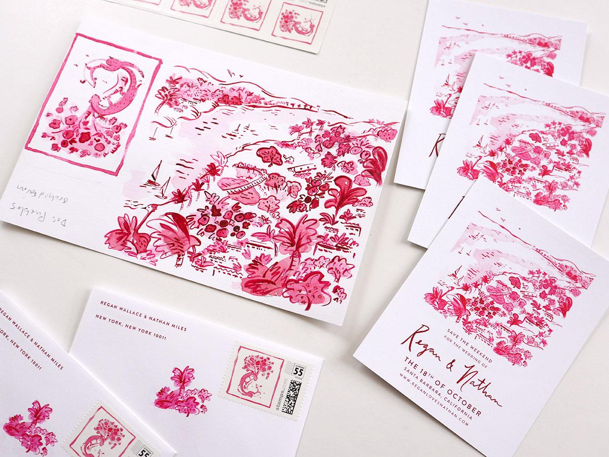 Pink santa barbara custom illustrated save the date