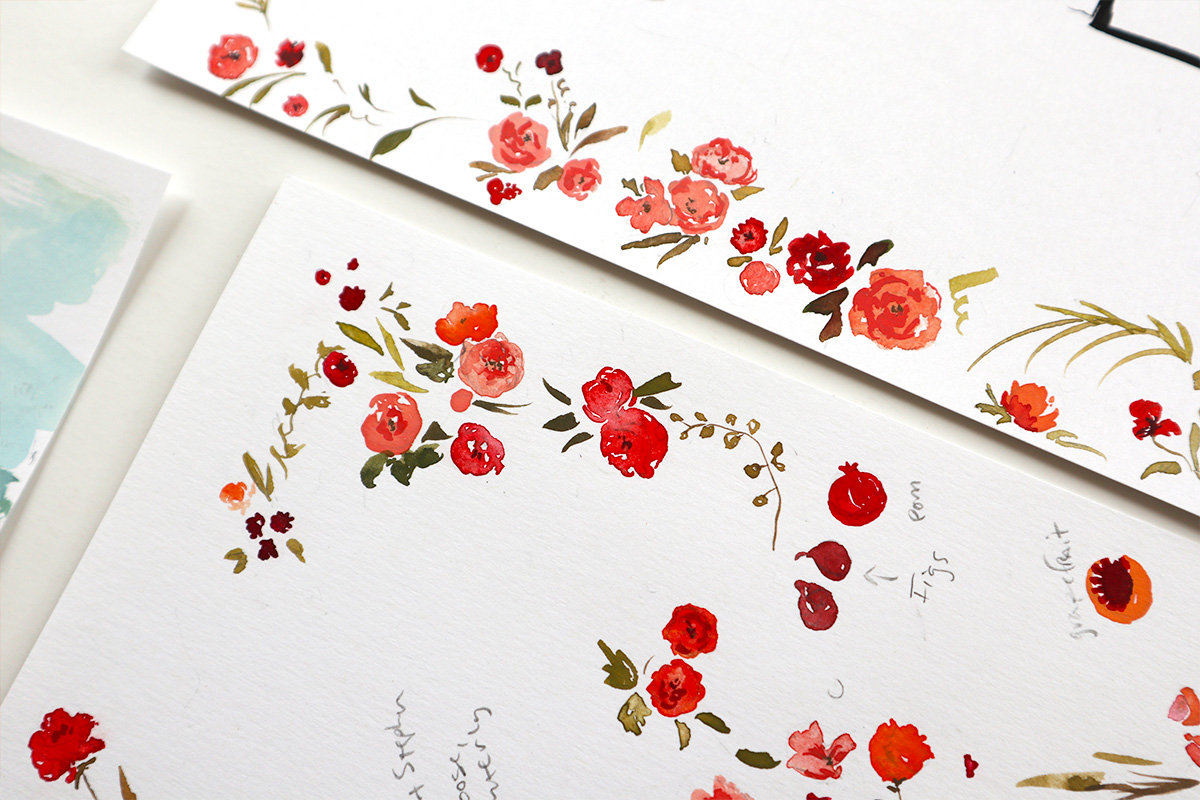 pink and red florals, watercolor illustration