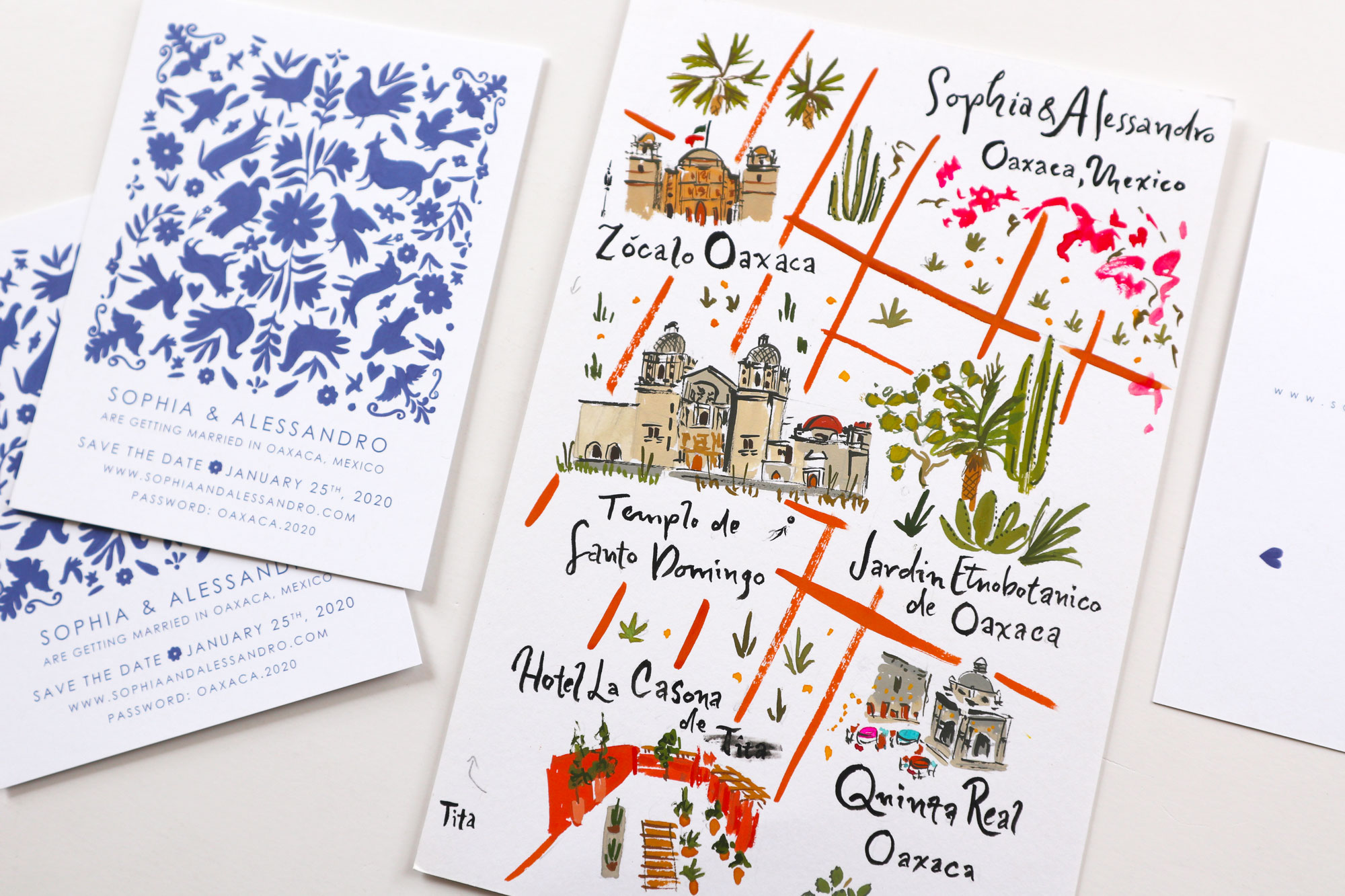 oaxaca save the date and illustrated wedding map