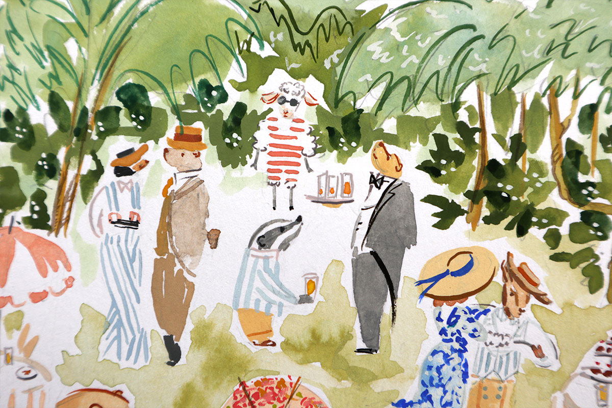 animal illustrated garden party