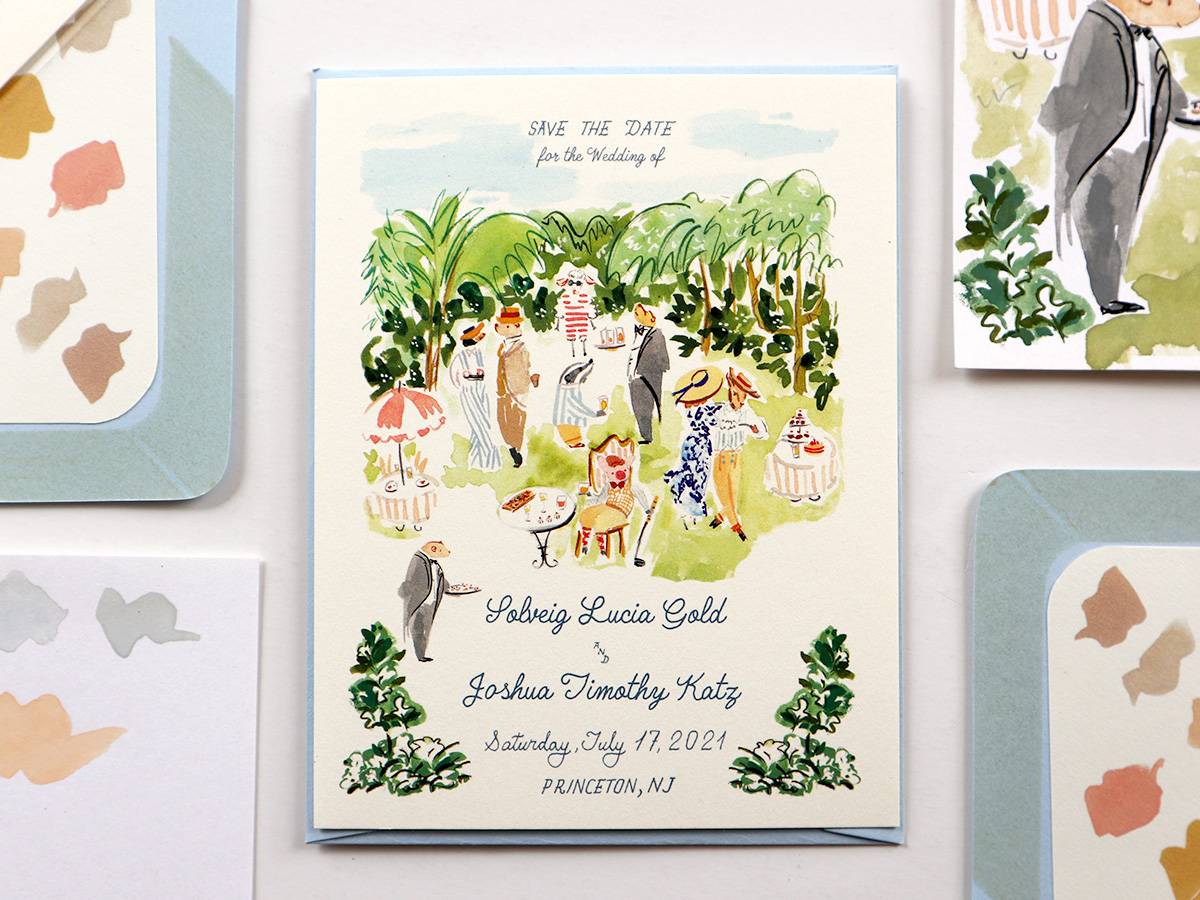 Princeton wedding save the date, illustrated animal garden party