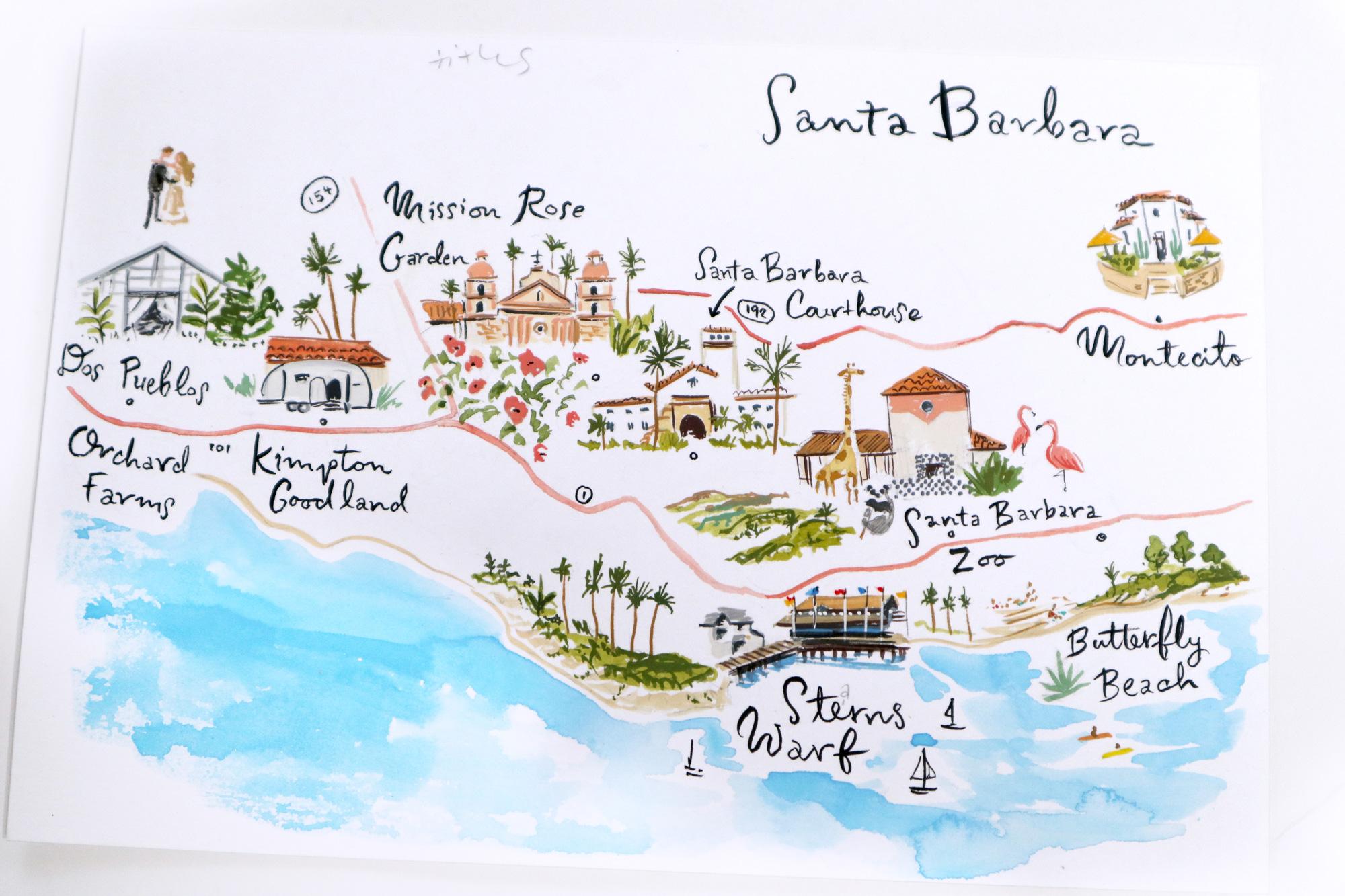 Santa Barbara illustrated map by jolly edition
