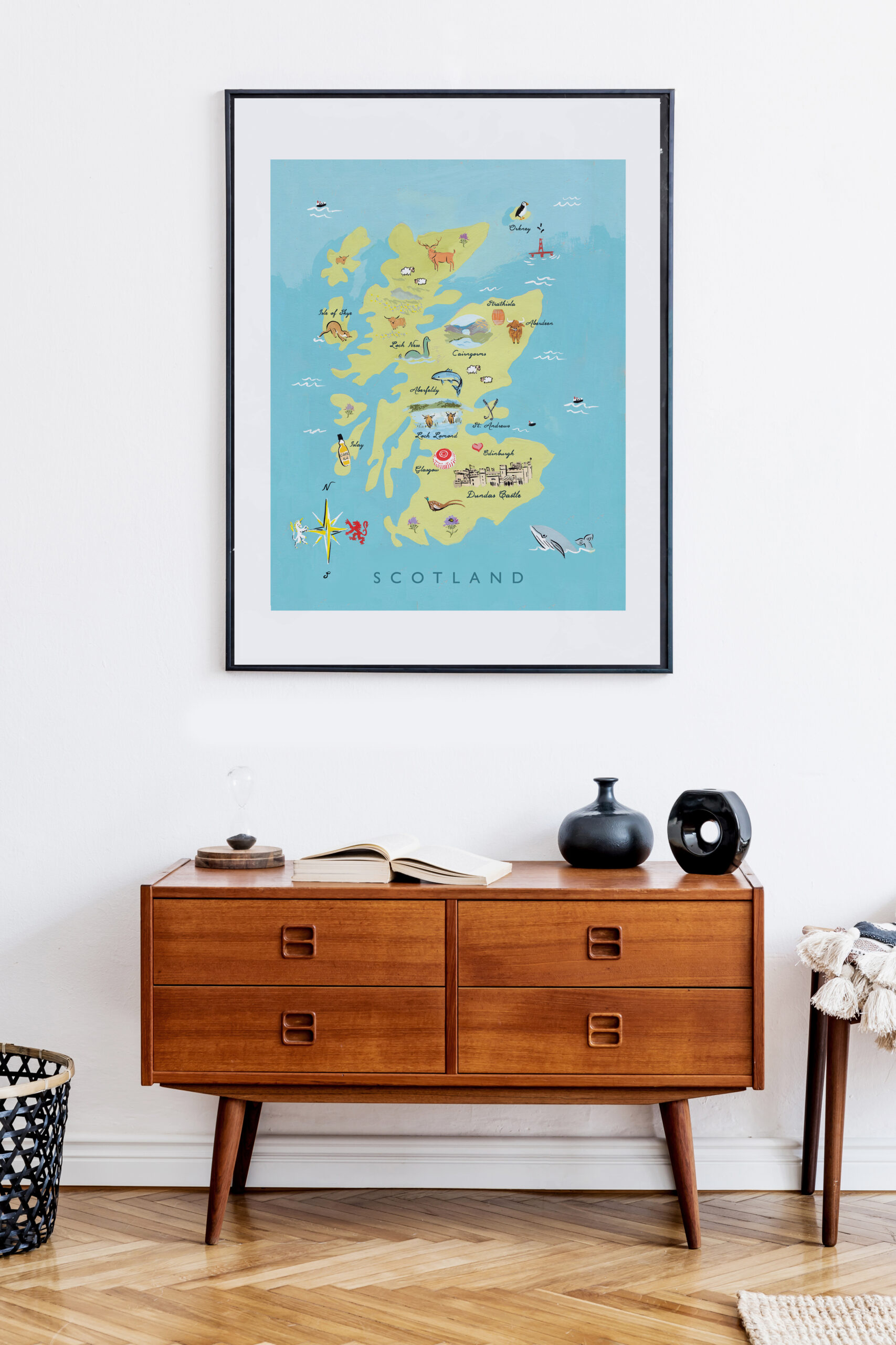 scotland illustrated map by jolly edition