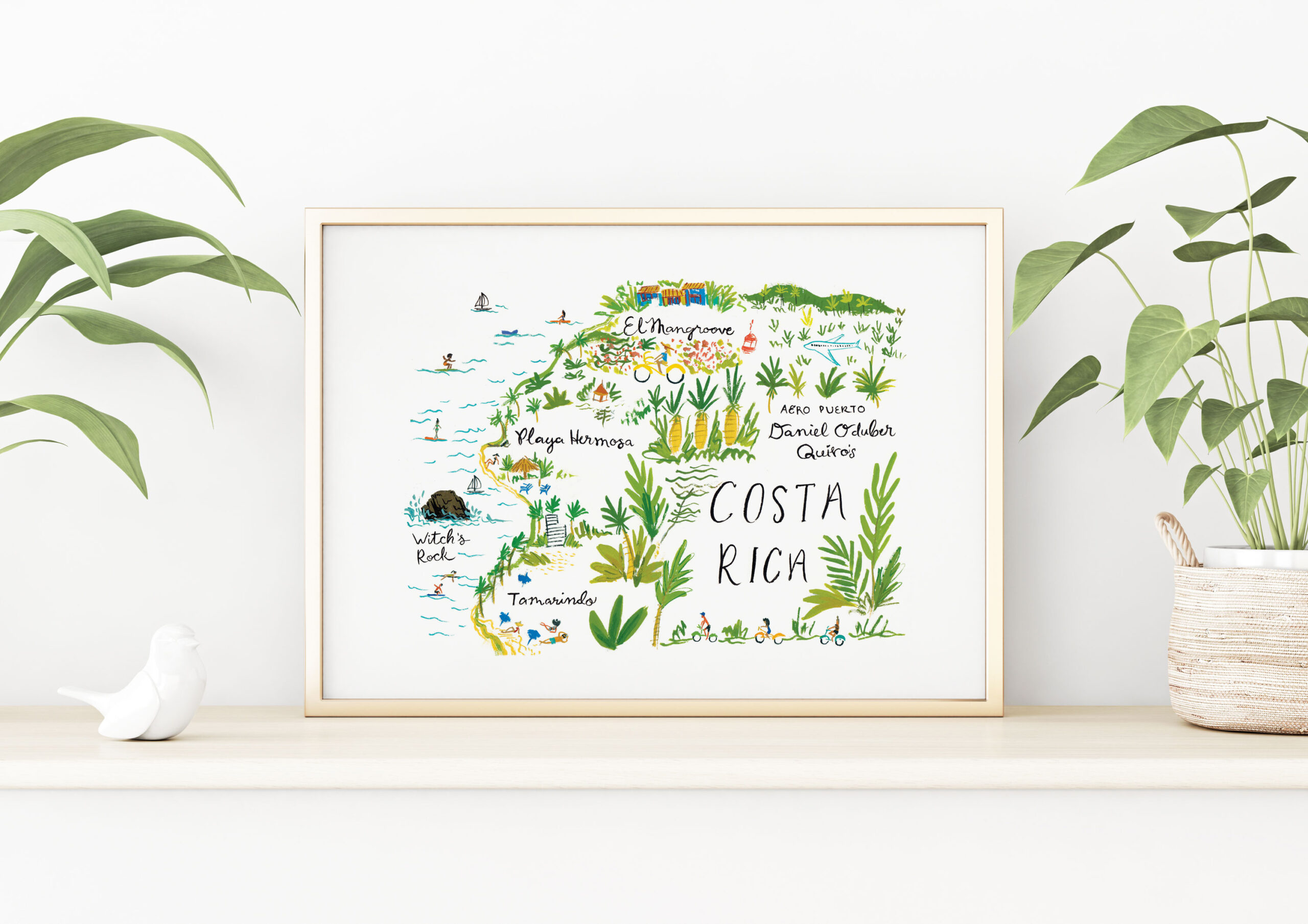 costa rica illustrated map by jolly edition