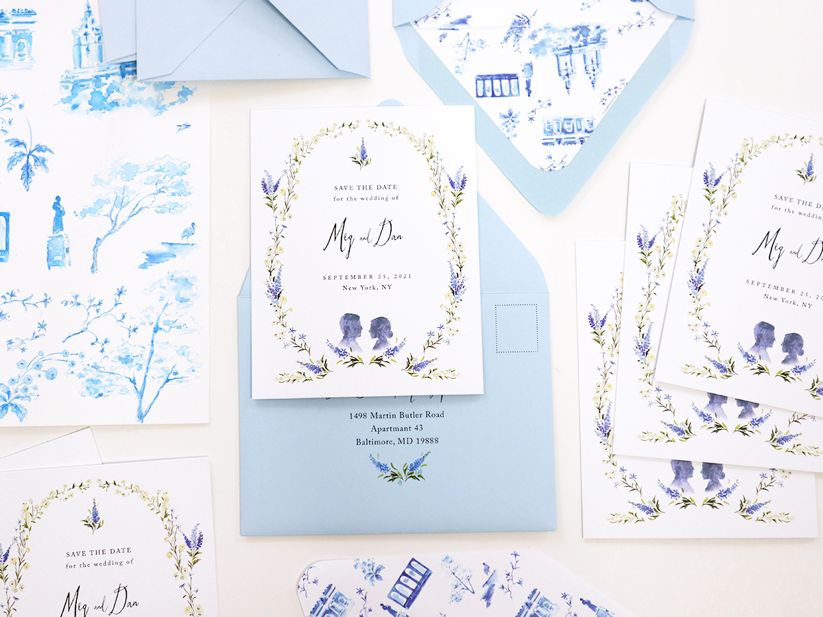 delicate blue huesd save the date, featuring the met and central park liner by jolly edition