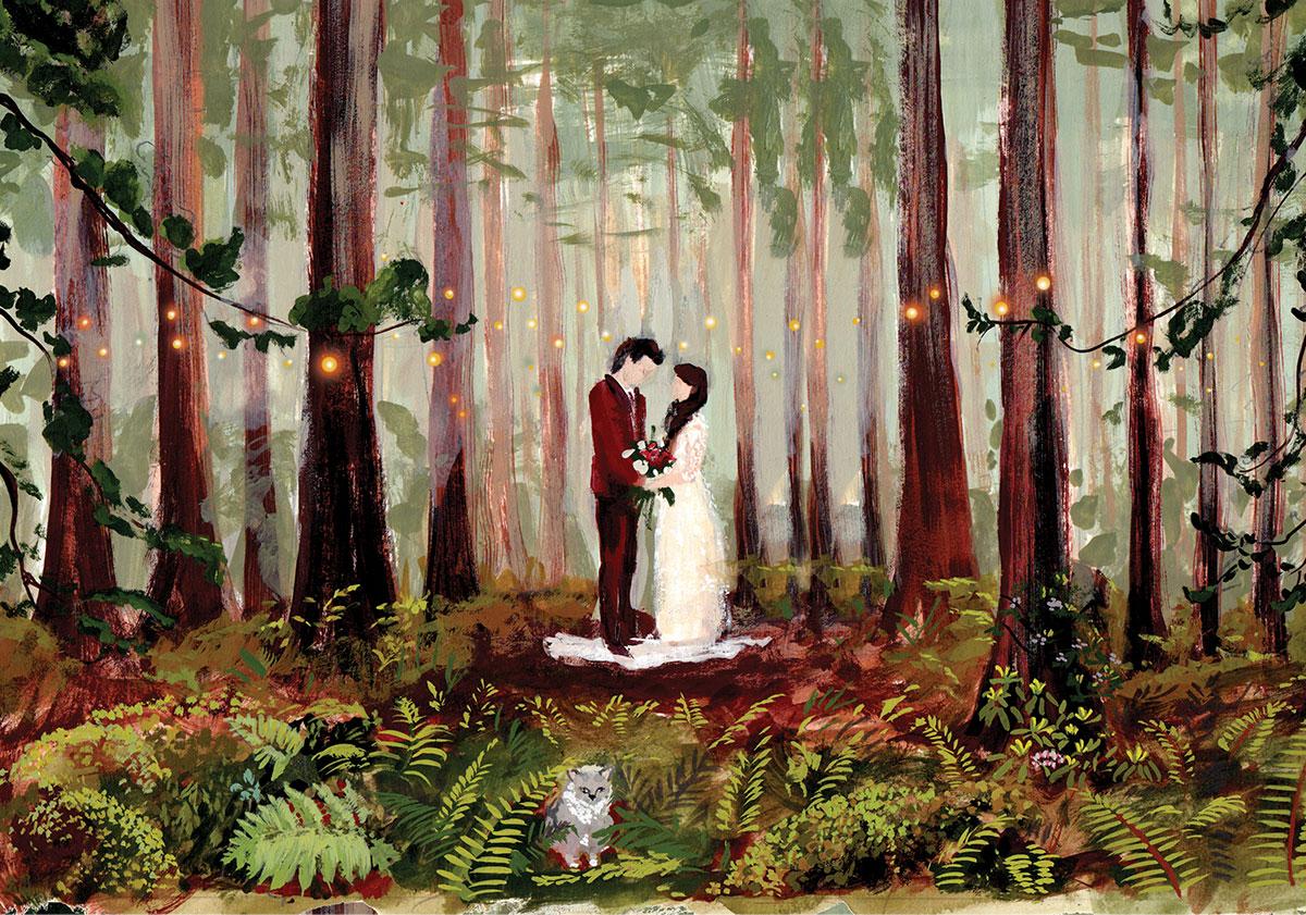 magical redwood wedding illustration