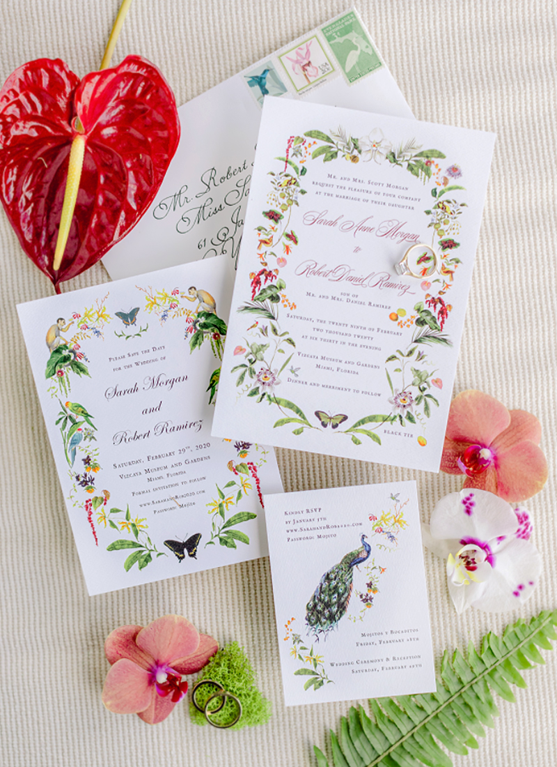 vizcaya wedding jenya flowers jolly edition Save the date, invitation, and reply card design